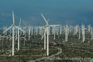 Image 06863, Wind turbines provide electricity to Palm Springs and the Coachella Valley. San Gorgonio pass, San Bernardino mountains. San Gorgonio Pass, Palm Springs, California, USA