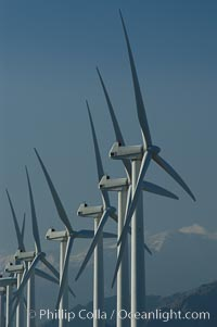 Image 06865, Wind turbines provide electricity to Palm Springs and the Coachella Valley. San Gorgonio pass, San Bernardino mountains. San Gorgonio Pass, Palm Springs, California, USA