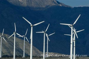 Wind turbines provide electricity to Palm Springs and the Coachella Valley. San Gorgonio pass, San Bernardino mountains. San Gorgonio Pass, California, USA, natural history stock photograph, photo id 06870