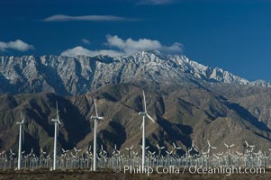 Wind turbines provide electricity to Palm Springs and the Coachella Valley. San Gorgonio pass, San Bernardino mountains. San Gorgonio Pass, Palm Springs, California, USA, natural history stock photograph, photo id 06897