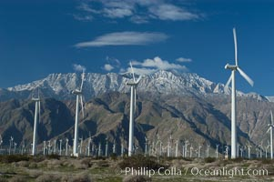 Wind turbines provide electricity to Palm Springs and the Coachella Valley. San Gorgonio pass, San Bernardino mountains. San Gorgonio Pass, Palm Springs, California, USA, natural history stock photograph, photo id 06899