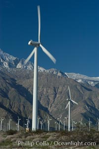 Wind turbines provide electricity to Palm Springs and the Coachella Valley. San Gorgonio pass, San Bernardino mountains. San Gorgonio Pass, Palm Springs, California, USA, natural history stock photograph, photo id 06902
