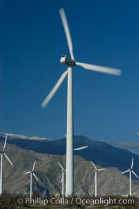 Wind turbines provide electricity to Palm Springs and the Coachella Valley. San Gorgonio pass, San Bernardino mountains. San Gorgonio Pass, Palm Springs, California, USA, natural history stock photograph, photo id 06903