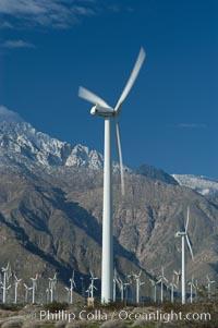 Wind turbines provide electricity to Palm Springs and the Coachella Valley. San Gorgonio pass, San Bernardino mountains. San Gorgonio Pass, California, USA, natural history stock photograph, photo id 06904