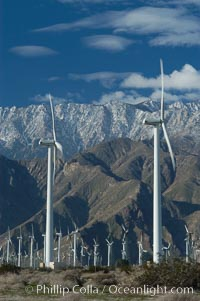 Wind turbines provide electricity to Palm Springs and the Coachella Valley. San Gorgonio pass, San Bernardino mountains. San Gorgonio Pass, Palm Springs, California, USA, natural history stock photograph, photo id 06905