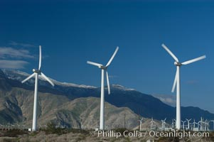 Wind turbines provide electricity to Palm Springs and the Coachella Valley. San Gorgonio pass, San Bernardino mountains. San Gorgonio Pass, Palm Springs, California, USA, natural history stock photograph, photo id 06907
