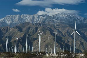Wind turbines provide electricity to Palm Springs and the Coachella Valley. San Gorgonio pass, San Bernardino mountains. San Gorgonio Pass, Palm Springs, California, USA, natural history stock photograph, photo id 06908