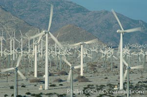 Wind turbines provide electricity to Palm Springs and the Coachella Valley. San Gorgonio pass, San Bernardino mountains. San Gorgonio Pass, Palm Springs, California, USA, natural history stock photograph, photo id 06912