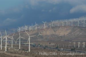 Wind turbines overlooking Interstate 10 provide electricity to Palm Springs and the Coachella Valley. San Gorgonio pass, San Bernardino mountains. San Gorgonio Pass, California, USA, natural history stock photograph, photo id 06913
