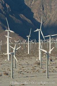 Wind turbines provide electricity to Palm Springs and the Coachella Valley. San Gorgonio pass, San Bernardino mountains. San Gorgonio Pass, Palm Springs, California, USA, natural history stock photograph, photo id 06916