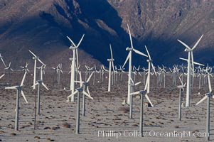 Image 06917, Wind turbines provide electricity to Palm Springs and the Coachella Valley. San Gorgonio pass, San Bernardino mountains. San Gorgonio Pass, Palm Springs, California, USA