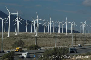 Wind turbines overlooking Interstate 10 provide electricity to Palm Springs and the Coachella Valley. San Gorgonio pass, San Bernardino mountains, San Gorgonio Pass