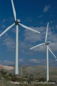 Wind turbines provide electricity to Palm Springs and the Coachella Valley. San Gorgonio pass, San Bernardino mountains. San Gorgonio Pass, California, USA, natural history stock photograph, photo id 06884