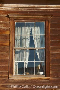 Window, curtains, table, Reddy House, Union Street and Prospect Street, Bodie State Historical Park, California