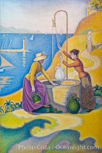 Women at the Well, 1892, Paul Signac, Musee d'Orsay, Paris. Musee dOrsay, France, natural history stock photograph, photo id 35661