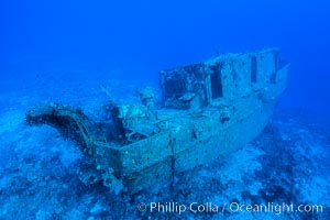 Wreck of the Nasi Yalo Dina, Fiji. The Nasi Yalodina was a Fijian medical ship that sunk after striking the reef here in 2001