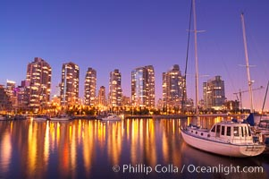 Yaletown section of Vancouver at night, viewed from Granville Island. Granville Island, Vancouver, British Columbia, Canada, natural history stock photograph, photo id 21167