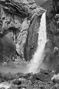 Lower Yosemite Falls in spring. Yosemite National Park, California, USA, natural history stock photograph, photo id 22769