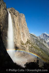 Yosemite Falls and rainbow, Half Dome in distance, viewed from the Yosemite Falls trail, spring. Yosemite Falls, Yosemite National Park, California, USA, natural history stock photograph, photo id 27742