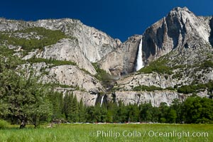 Yosemite Falls viewed from Cooks Meadow, spring, Yosemite National Park, California