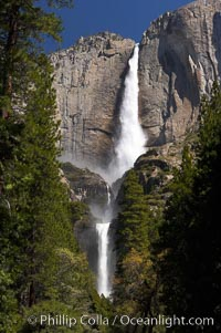 Yosemite Falls (upper, middle and lower sections) at peak flow, spring, Yosemite Valley. Yosemite National Park, California, USA, natural history stock photograph, photo id 16134