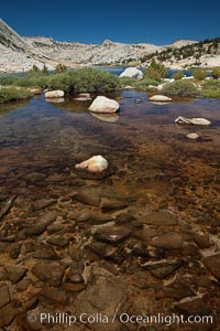 Rocks and stream connecting the two sections of Townsley Lake, with Choo-choo Ridge (11357') visible in the distance, Yosemite National Park, California