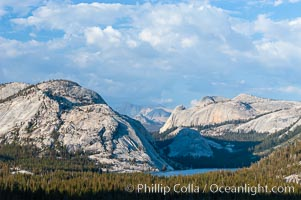Tenaya Lake is surrounded by epic granite domes, with Polly Dome on the left.  Late afternoon, viewed from Olmsted Point, Yosemite National Park, California