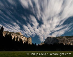 Yosemite Valley and stars lit by full moon, evening, Yosemite National Park, California
