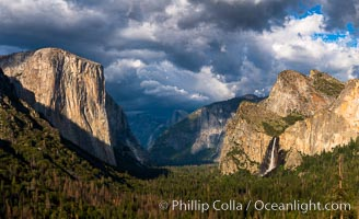 Yosemite Valley Tunnel View, Storm clouds at sunset, Yosemite National Park. California, USA, natural history stock photograph, photo id 34542