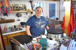 Yvon van Driessche, owner and chef at his crepe table, Le Barn Appetit, creperie and inn, Seward, Alaska