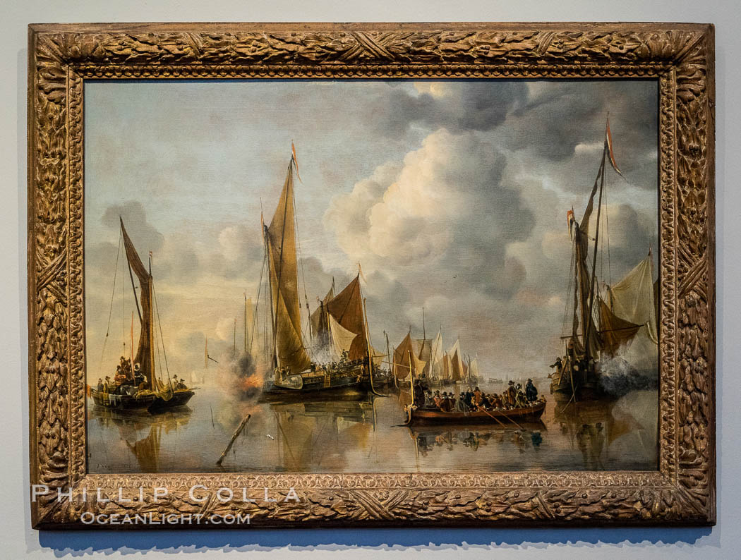 The Home Fleet Saluting the State Barge, Jan van de Cappelle, 1650, oil on panel, h 64cm x w 92.5cm. Rijksmuseum, Amsterdam, Holland, Netherlands, natural history stock photograph, photo id 29456