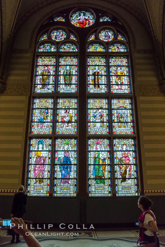 Stained glass in entrance hall, Rijksmuseum, Amsterdam. Holland, Netherlands, natural history stock photograph, photo id 29457