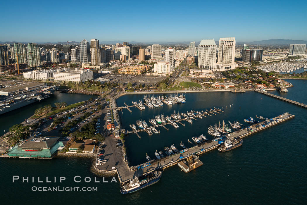 Aerial Photo of Downtown San Diego Waterfront., natural history stock photograph, photo id 30765