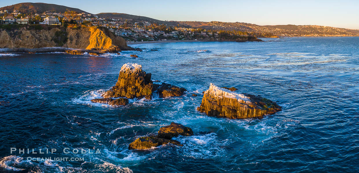 Seal Rocks at Sunset, Panoramic Aerial Photo, Laguna Beach, California., natural history stock photograph, photo id 34040