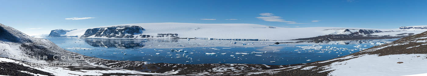 Adelie penguin colony, panoramic photograph. Devil Island, Antarctic Peninsula, Antarctica, natural history stock photograph, photo id 26312