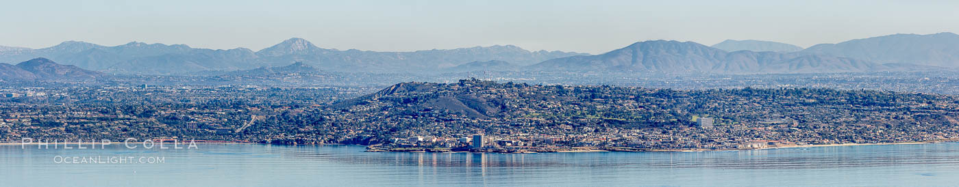 Aerial Panoramic Photograph of La Jolla, Mount Soledad, University City., natural history stock photograph, photo id 29097