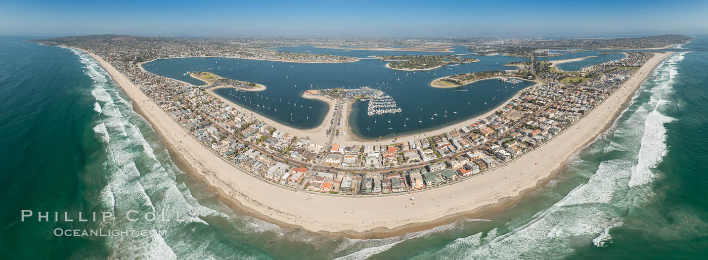 Aerial Panorama of Pacific Beach, Mission Beach and Mission Bay. San Diego, California, USA, natural history stock photograph, photo id 30848
