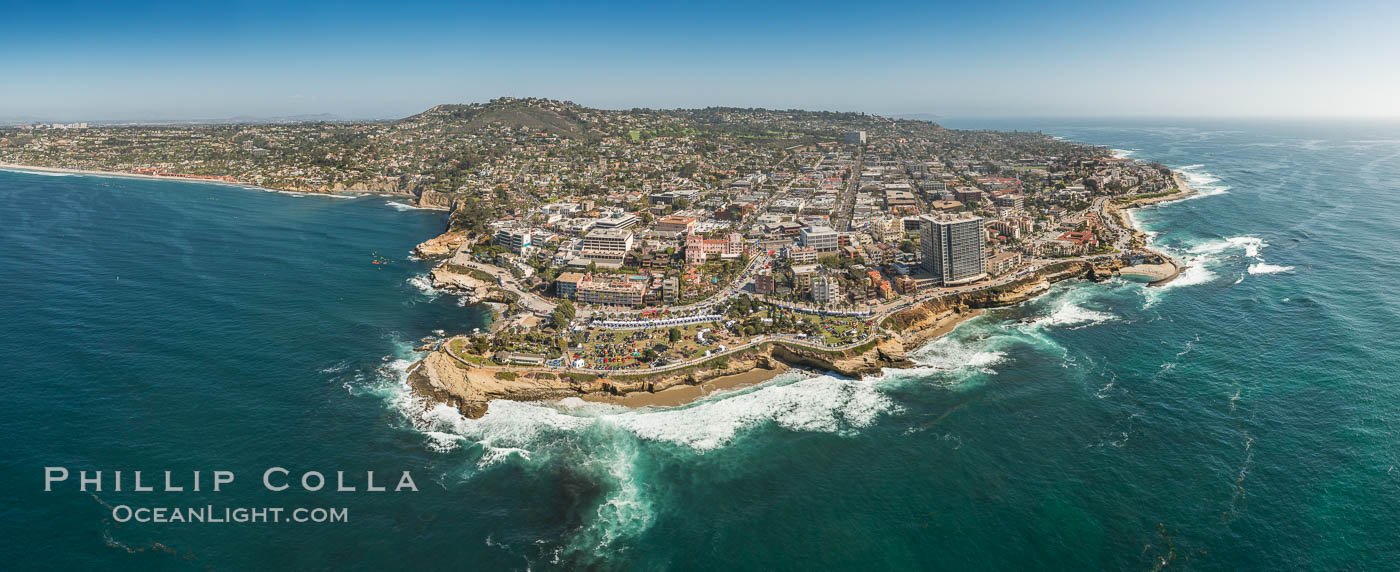 Aerial Panoramic Photo of La Jolla Cove and Scripps Park, Mount Soledad and Downtown La Jolla. California, USA, natural history stock photograph, photo id 30849