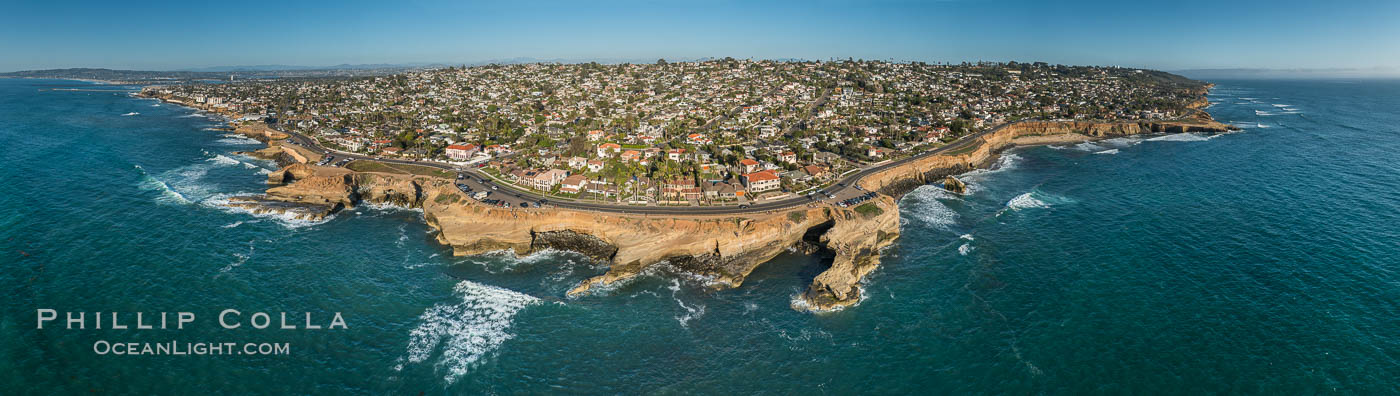 Aerial Panoramic Photo of Sunset Cliffs San Diego, Pappy's Point, Claiborne Cove. San Diego, California, USA, natural history stock photograph, photo id 30790