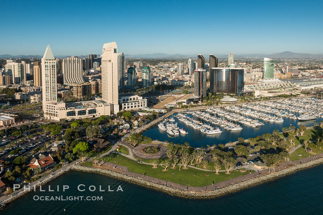 Aerial Phot of Marriott Hotel towers, rising above the Embarcadero Marine Park and yacht marina., natural history stock photograph, photo id 30766