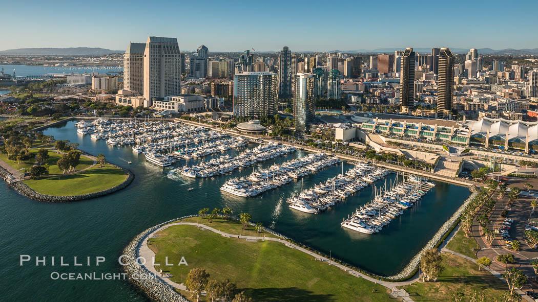 Aerial Phot of Marriott Hotel towers, rising above the Embarcadero Marine Park and yacht marina, natural history stock photograph, photo id 30768