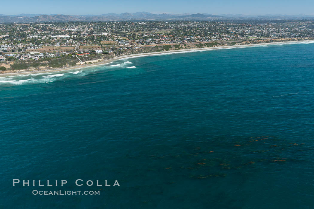 Image 30670, Aerial photo of Coastal Encinitas and Leucadia. California, USA, Phillip Colla, all rights reserved worldwide. Keywords: above, aerial, aerial photo, aerial photograph, aloft, beach, california, coast, encinitas, kelp forest, lighthawk, marine, marine protected area, mpa, noonan beach, ocean, outdoors, outside, pacific ocean, reef, san diego, scene, scenery, scenic, self realization fellowship, swami   s state marine conservation area, swamis beach, swamis marine conservation area, usa.