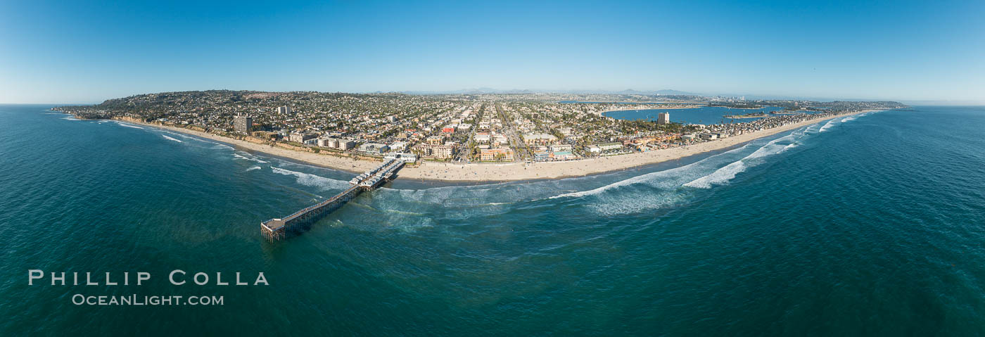 Aerial Panoramic Photo of Crystal Pier and Pacific Beach Coastline. San Diego, California, USA, natural history stock photograph, photo id 30780