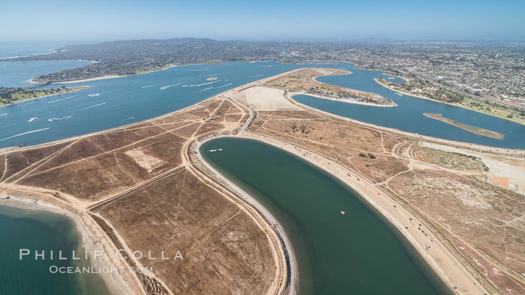 Aerial Photo of Fiesta Island, Mission Bay, San Diego. California, USA, natural history stock photograph, photo id 30829