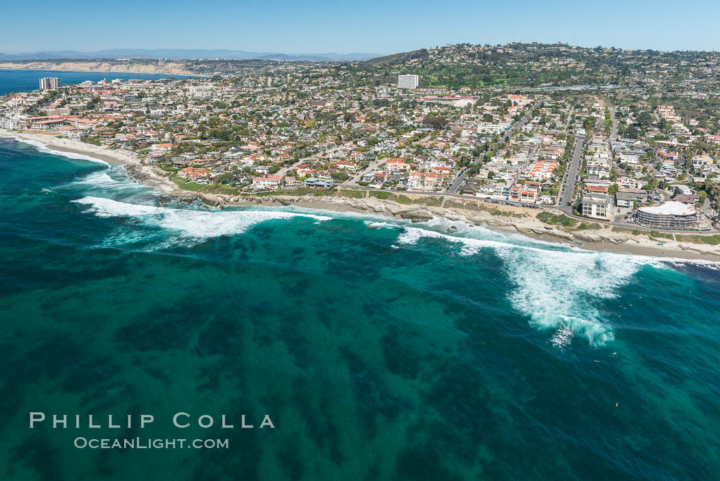 Aerial Photo of La Jolla coastline, showing underwater reefs and Mount Soledad. California, USA, natural history stock photograph, photo id 30682