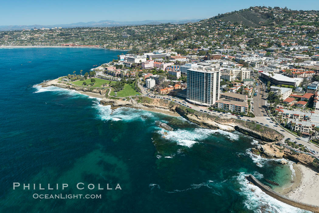 Aerial Photo of La Jolla coastline, showing underwater reefs and Mount Soledad. California, USA, natural history stock photograph, photo id 30676