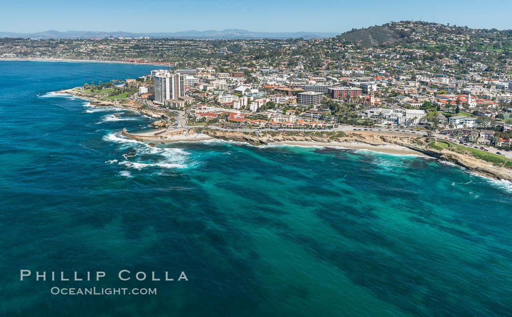 Aerial Photo of La Jolla coastline, showing underwater reefs and Mount Soledad. California, USA, natural history stock photograph, photo id 30679
