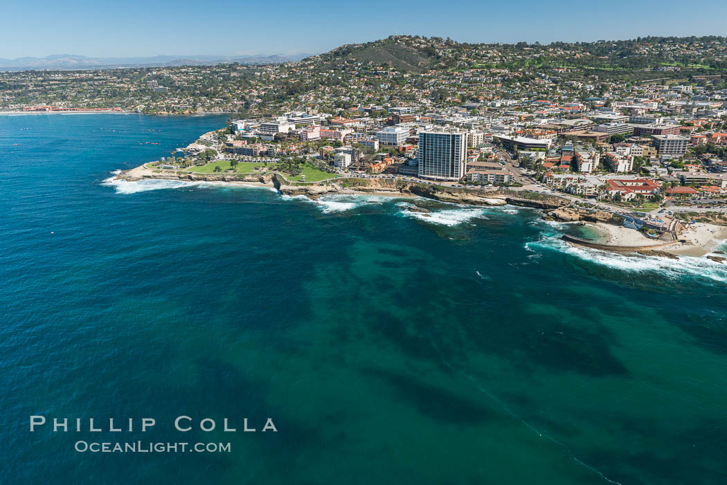 Aerial Photo of La Jolla coastline, showing underwater reefs and Mount Soledad. California, USA, natural history stock photograph, photo id 30677