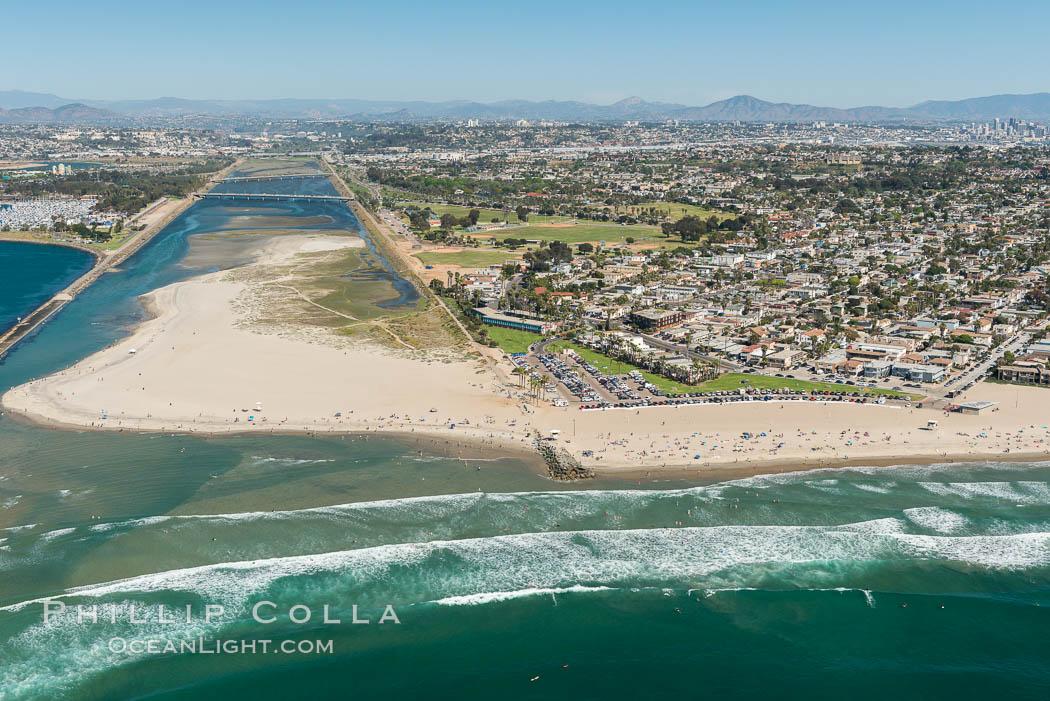 Aerial Photo of San Diego River and Dog Beach. San Diego, California, USA, natural history stock photograph, photo id 30694