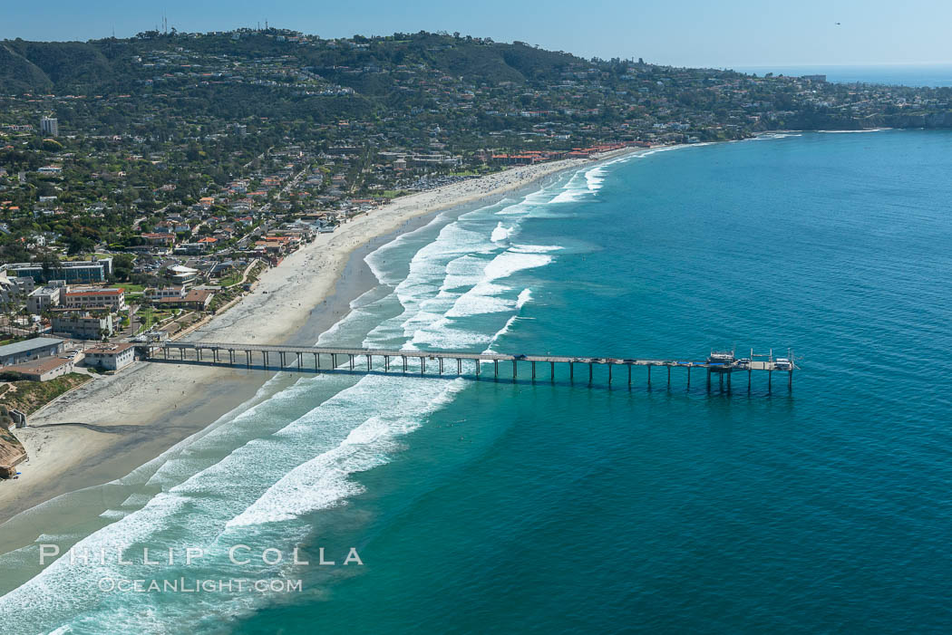 Aerial Photo of San Diego Scripps Coastal SMCA. Scripps Institution of Oceanography Research Pier. La Jolla, California, USA, natural history stock photograph, photo id 30626